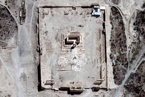 Вид со спутника на Храм Бэла до взрыва