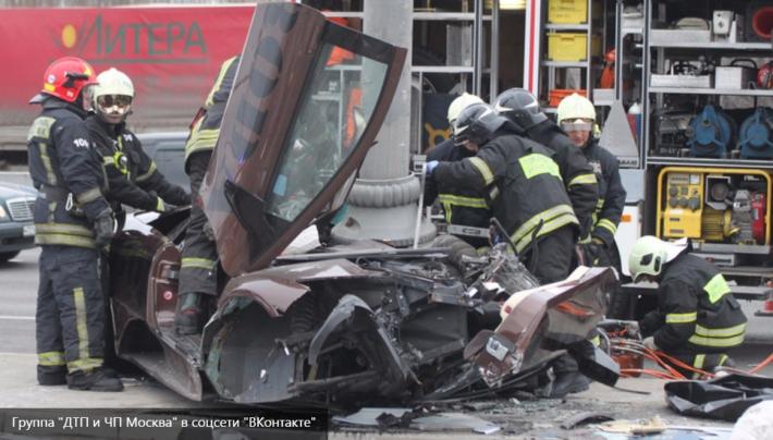 Появилось видео смертельного ДТП с Lamborghini бойца ММА Яндиева в Москве