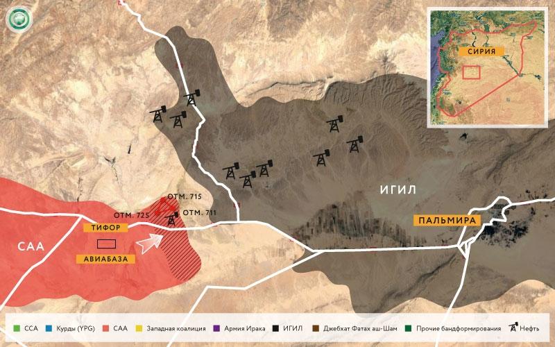 Карта военных действий в районе Пальмиры