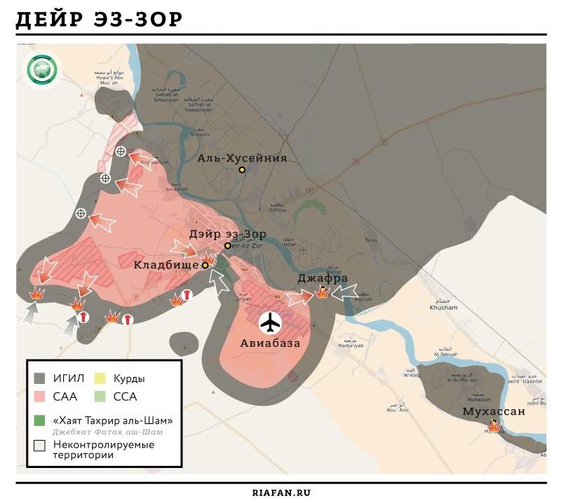 Карта военных действий в районе Дейр эз-Зора