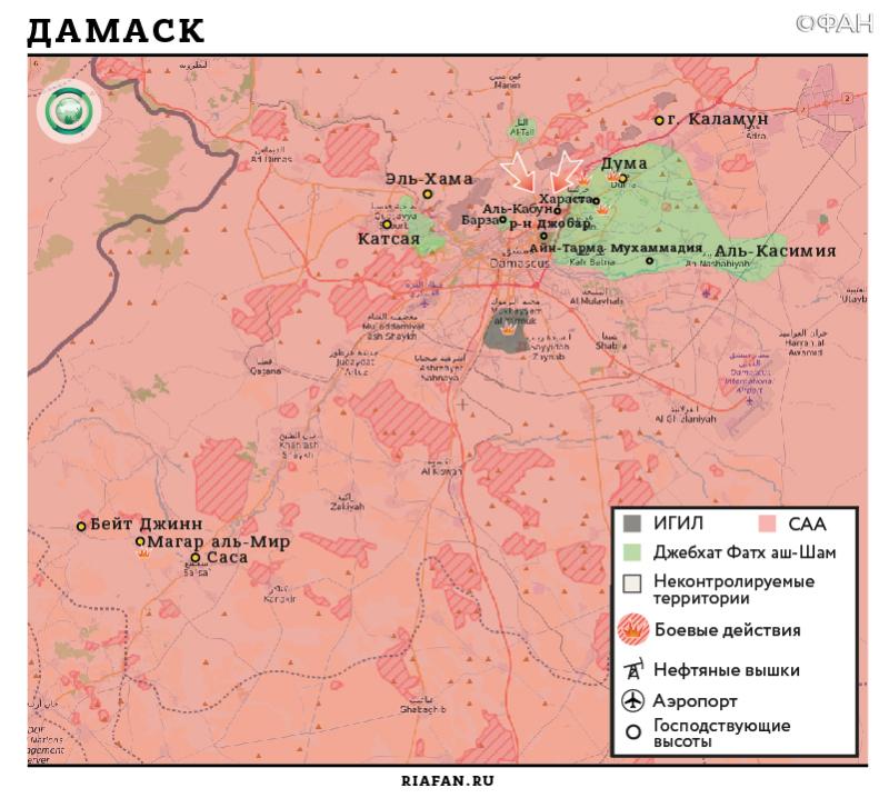 Карта военных действий - Дамаск