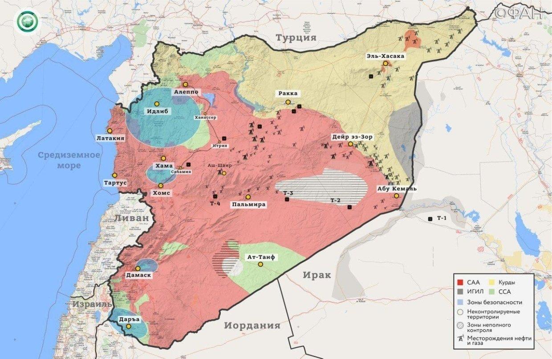 Карта военных действий в Сирии