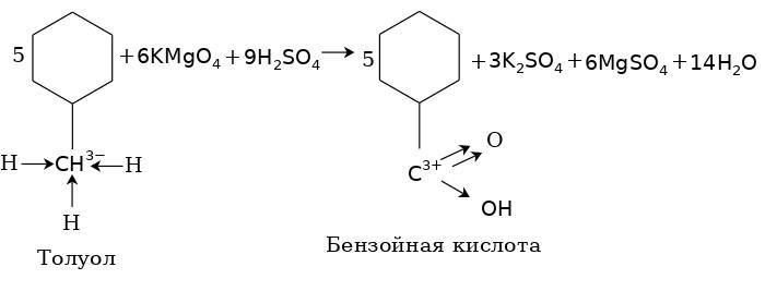 Образование бензойной кислоты от окисление гомологов бензола в кислотной среде