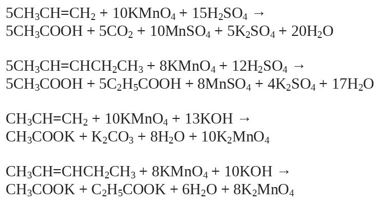 Реакции окисления алкенов с разрывом углеродной цепи по двойной связи