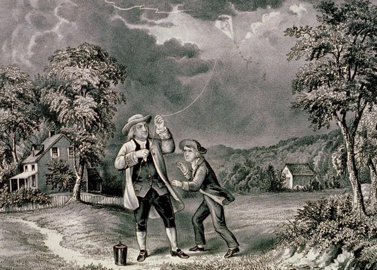 Франклин запускает змея для доказательства присутствия электричества в молнии