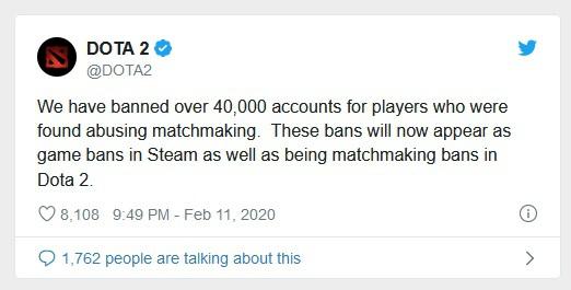 В популярной онлайновой игре «Dota 2» забанили 40 тысяч игроков