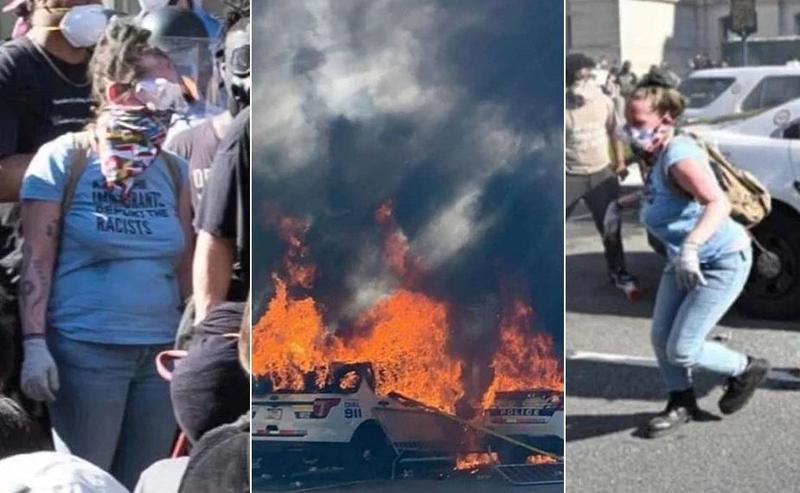 Белой участнице беспорядков в США грозит 80 лет тюрьмы за поджог полицейских машин