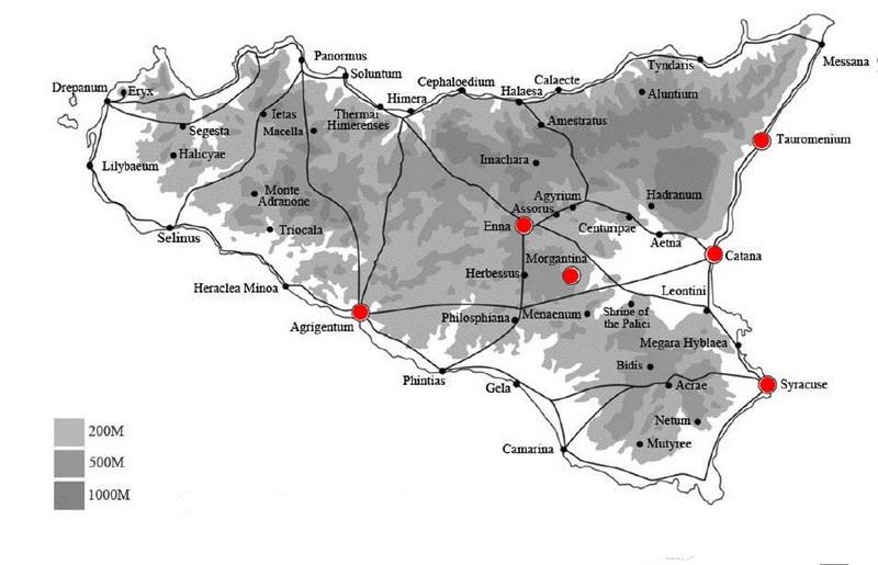 Ареал распространения первого рабского восстания на Сицилии. Красным отмечены города, захваченные повстанцами.
