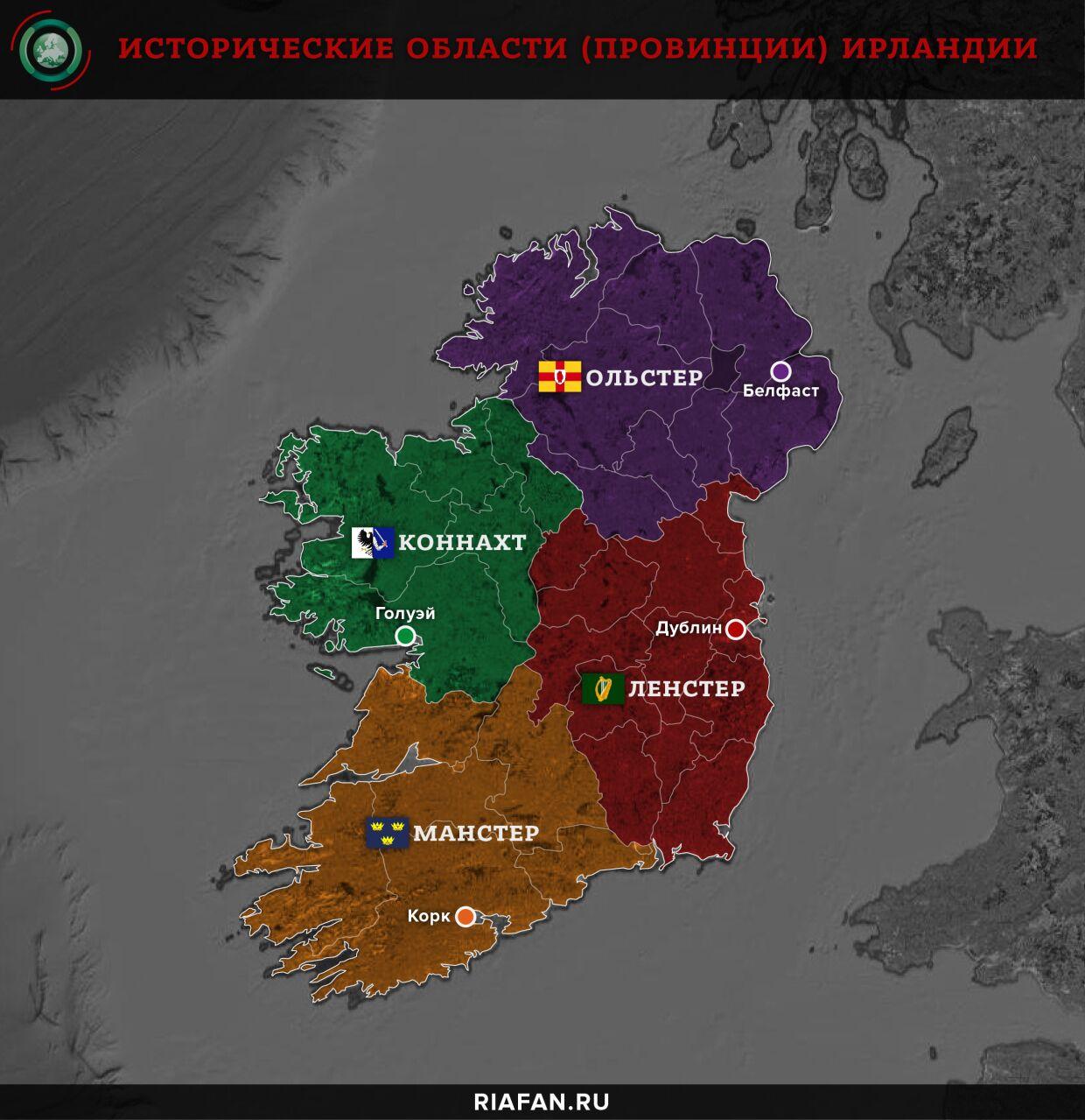 Исторические области (провинции) Ирландии
