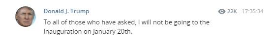Всем, кто спрашивал: я НЕ СОБИРАЮСЬ появляться на инаугурации 20 января