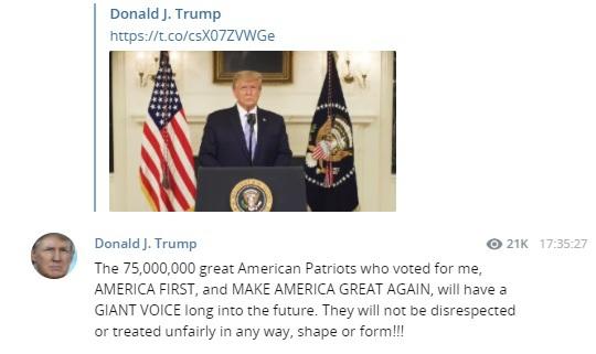Голос 75 миллионов выдающихся патриотов Америки, проголосовавших за меня, еще прозвучит в полную силу в будущем. Они не подвергнутся унижениям и несправедливости ни в каком виде и ни в какой форме!