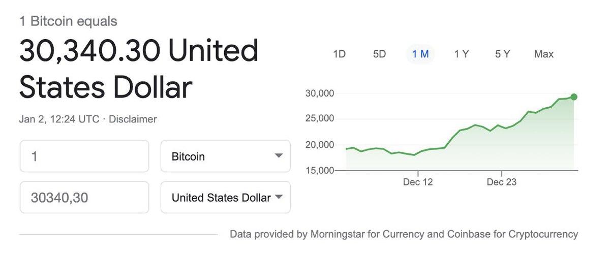 «Уперся впотолок»: биткоин подорожал до30 тысяч долларов