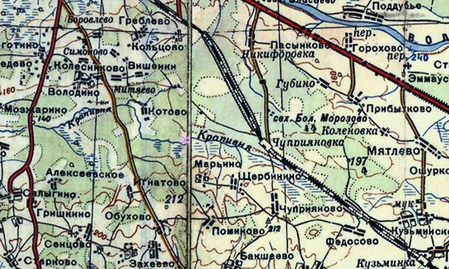 Фрагмент советской оперативной карты с районом боевых действий