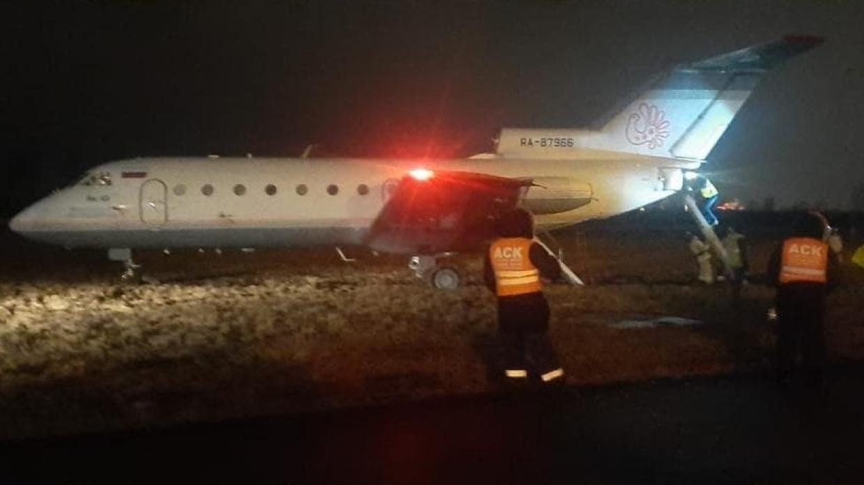Появились фото с места выката самолета за пределы ВВП в Пулково