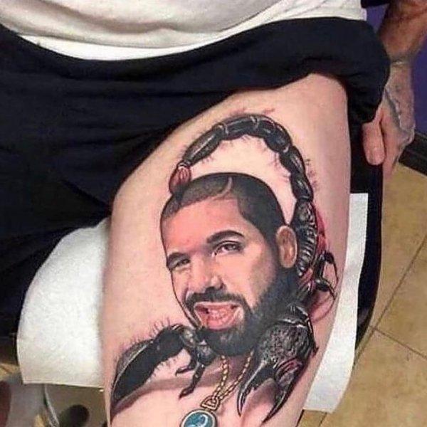 Дрейк + скорпион = плохая татуировка.